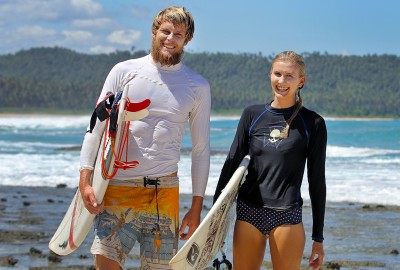 Australian surfers on the west-coast of North Nias (Nias Utara), Nias Island, Indonesia.