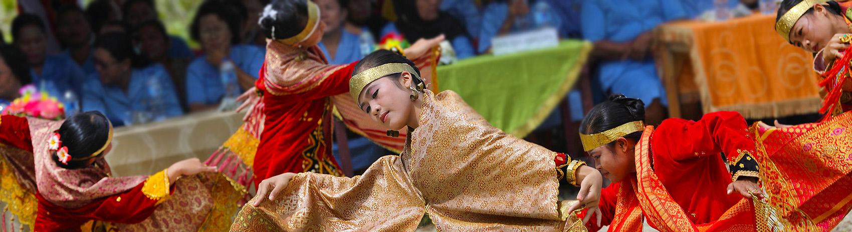 Traditional moyo dance in Afulu. North Nias (Nias Utara), Nias Island, Indonesia.