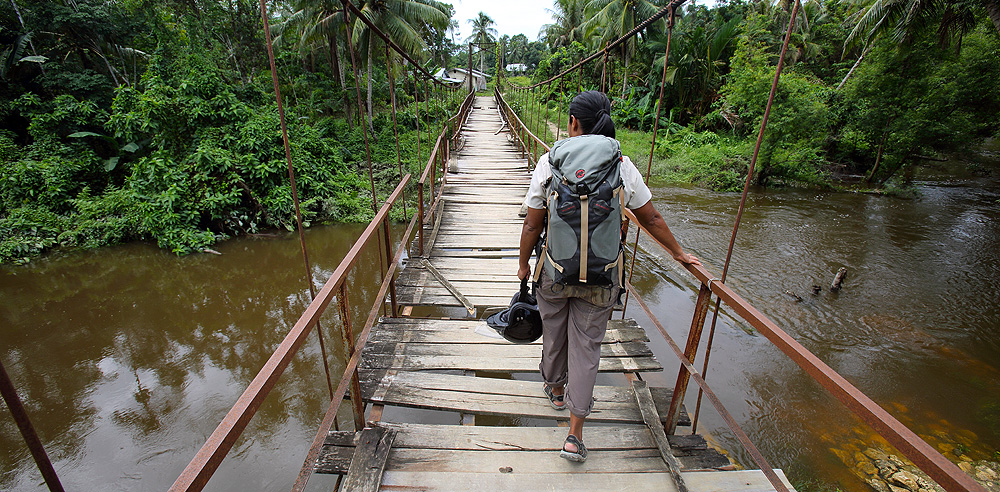 Bridge over Tumula River, North Nias (Nias Utara), Nias Island, Indonesia.