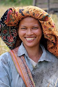 Smiling woman in in Afulu, North Nias (Nias Utara), Nias Island, Indonesia.