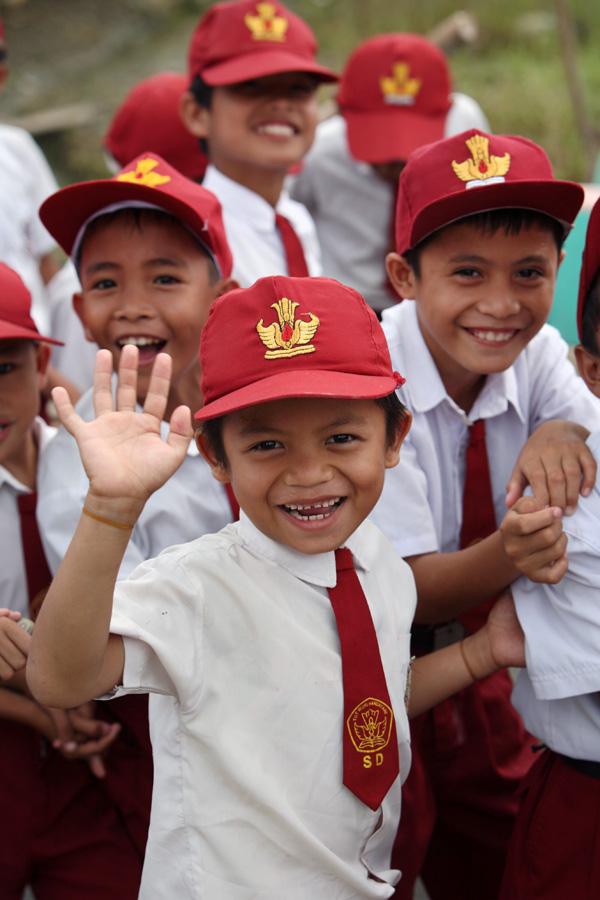 Smiling school-kids in North Nias (Nias Utara), Nias Island, Indonesia.