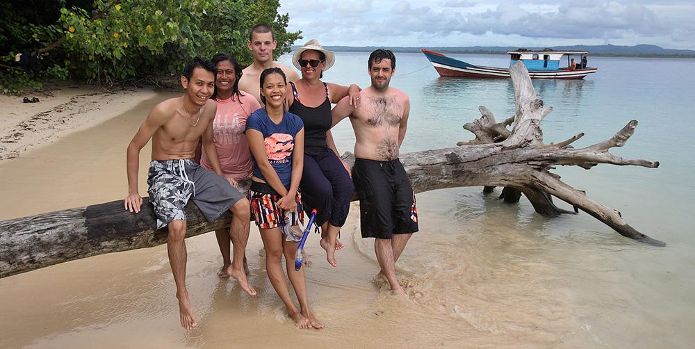 Tourists visiting Panjang Island, North Nias (Nias Utara), Indonesia.