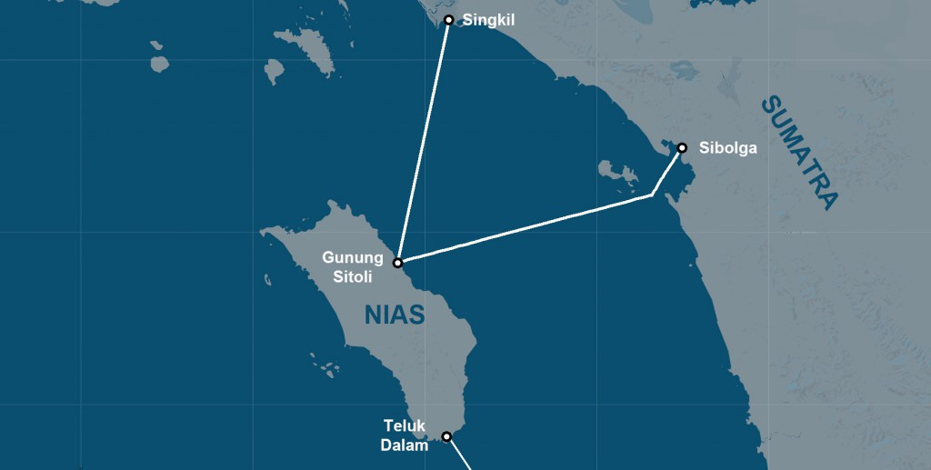Ferry services from mainland Sumatra to Nias Island. There is also a smaller ferry between South Nias and Telo Islands