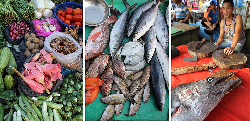 Fresh produce and daily catch sold at Gunungsitoli fresh markets.