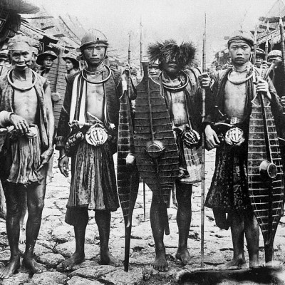 A group of warriors from South Nias. Tropenmuseum Collection.