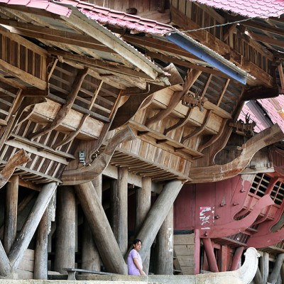 Traditional house in Hilimondregeraya village, South Nias.