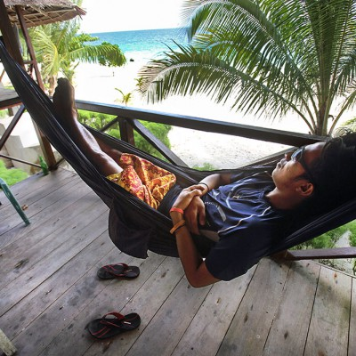 One of the most important activities on Nias; doing nothing! At Mama Silvi Cottages, Asu Island.