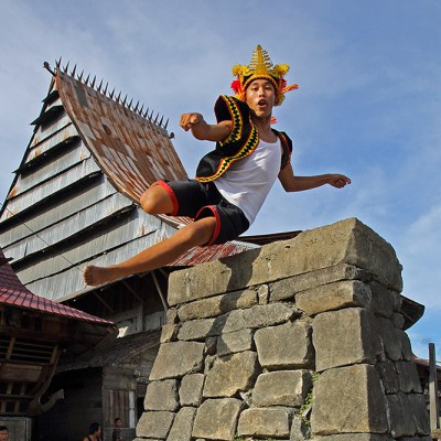 Stone jumping in Bawömataluo village, South Nias.