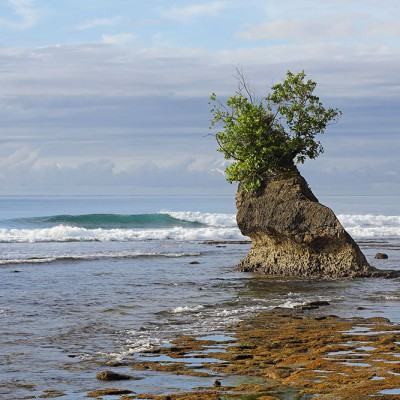Rock formations along the South Nias coastline