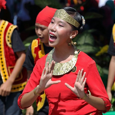 Traditional dance during a cultural performance at the Nias Heritage Museum in Gunungsitoli.