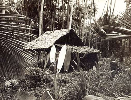 First surfers camp in Lagundri (1975).