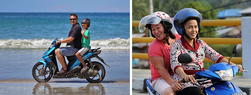 Motorbike travel is a great way to get around on Nias.