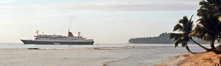 Dutch cruise ship MV Prinsendam visiting South Nias in 1979.