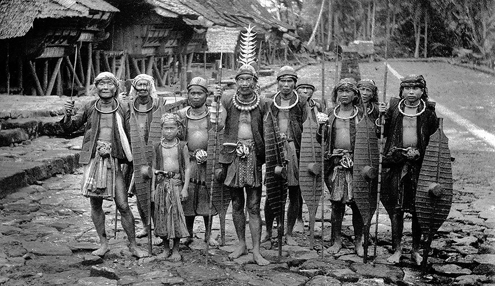 A chief with a group of warriors in South Nias.