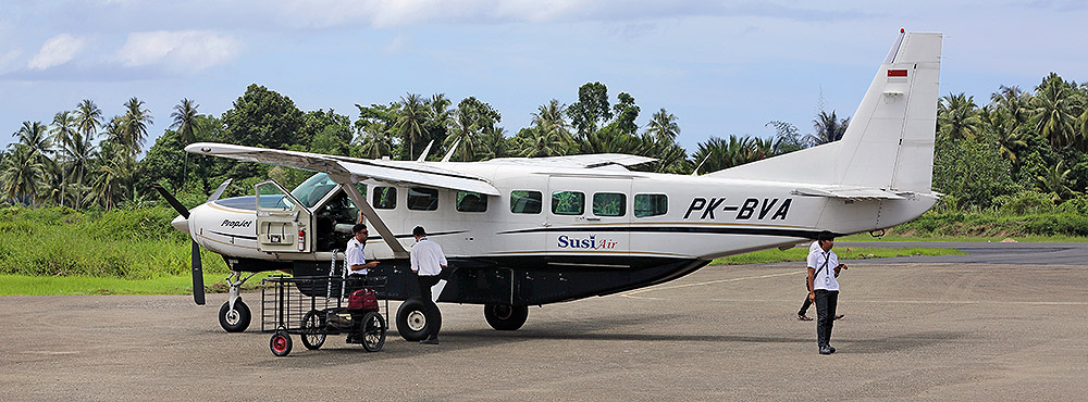 Susi Air fligth from Gunungsitoli to Telo Islands.