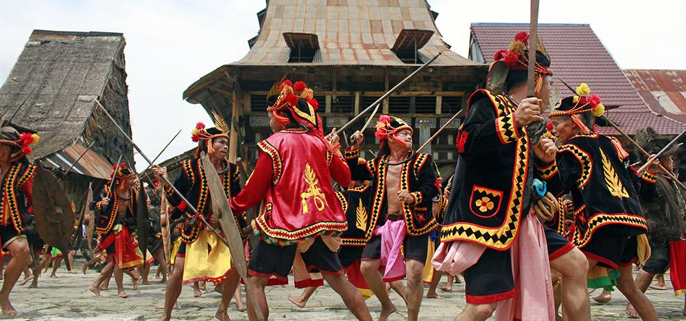 War dance in Bawomataluo village, South Nias.